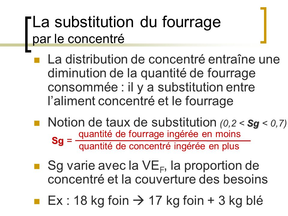 La substitution du fourrage par le concentré quantité de fourrage ingérée en moins quantité de concentré ingérée en plus Sg Sg = La distribution de concentré entraîne une diminution de la quantité de fourrage consommée : il y a substitution entre laliment concentré et le fourrage Sg Notion de taux de substitution (0,2 < Sg < 0,7) Sg varie avec la VE F, la proportion de concentré et la couverture des besoins Ex : 18 kg foin 17 kg foin + 3 kg blé