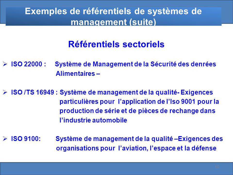 Exemples de référentiels de systèmes de management (suite) Référentiels sectoriels ISO 22000 : Système de Management de la Sécurité des denrées Alimentaires – ISO /TS 16949 : Système de management de la qualité- Exigences particulières pour lapplication de lIso 9001 pour la production de série et de pièces de rechange dans lindustrie automobile ISO 9100: Système de management de la qualité –Exigences des organisations pour laviation, lespace et la défense 10