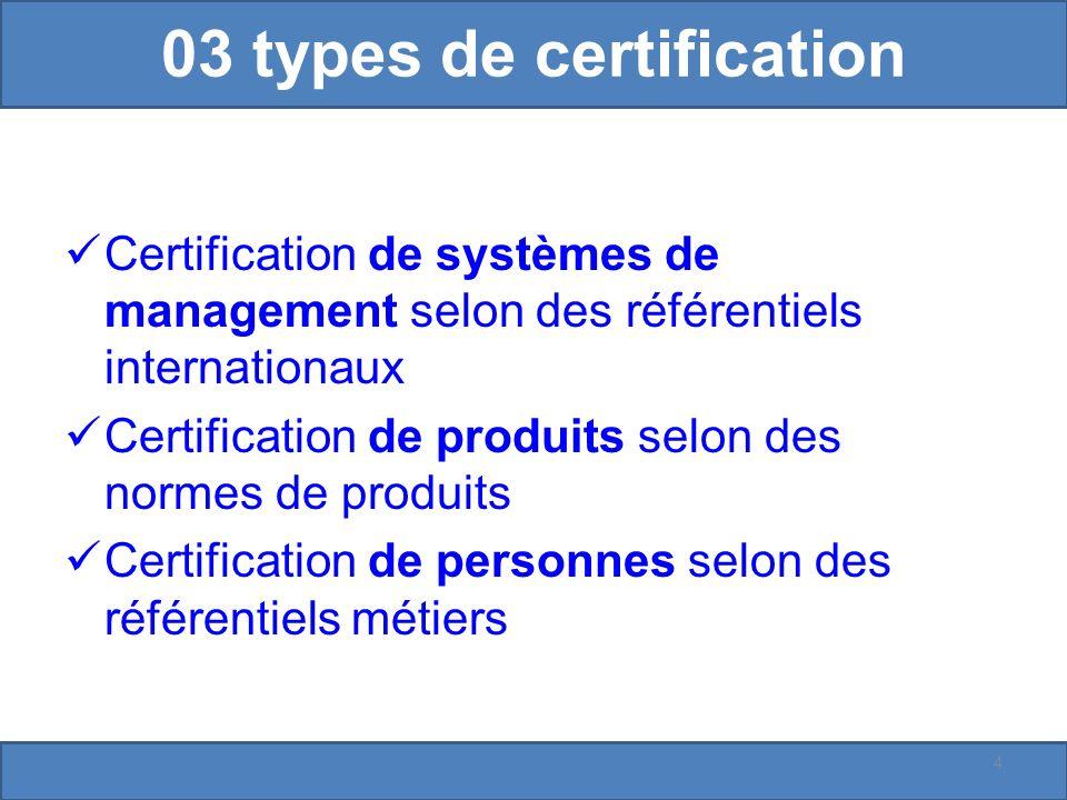 03 types de certification Certification de systèmes de management selon des référentiels internationaux Certification de produits selon des normes de produits Certification de personnes selon des référentiels métiers 4