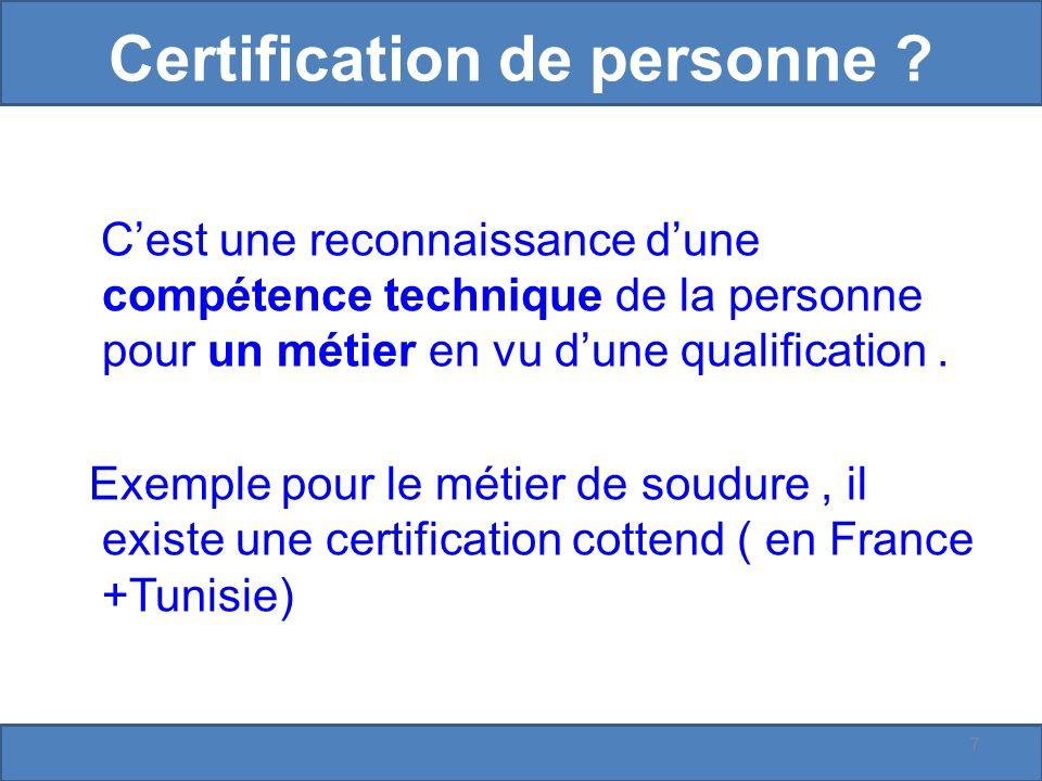 Certification de personne .