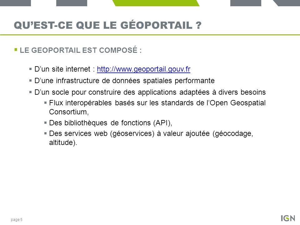 QUEST-CE QUE LE GÉOPORTAIL ? LE GEOPORTAIL EST COMPOSÉ : Dun site internet : http://www.geoportail.gouv.frhttp://www.geoportail.gouv.fr Dune infrastru
