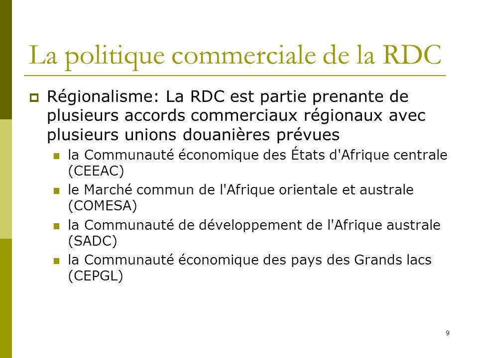 9 La politique commerciale de la RDC Régionalisme: La RDC est partie prenante de plusieurs accords commerciaux régionaux avec plusieurs unions douanières prévues la Communauté économique des États d Afrique centrale (CEEAC) le Marché commun de l Afrique orientale et australe (COMESA) la Communauté de développement de l Afrique australe (SADC) la Communauté économique des pays des Grands lacs (CEPGL)
