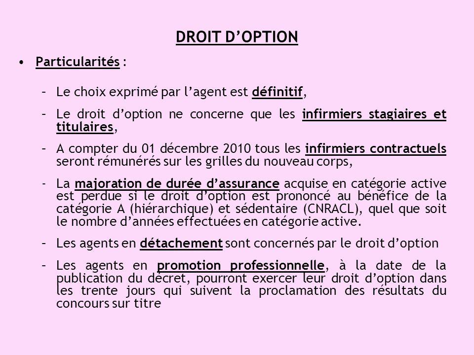 DROIT DOPTION Particularités : –Le choix exprimé par lagent est définitif, –Le droit doption ne concerne que les infirmiers stagiaires et titulaires,