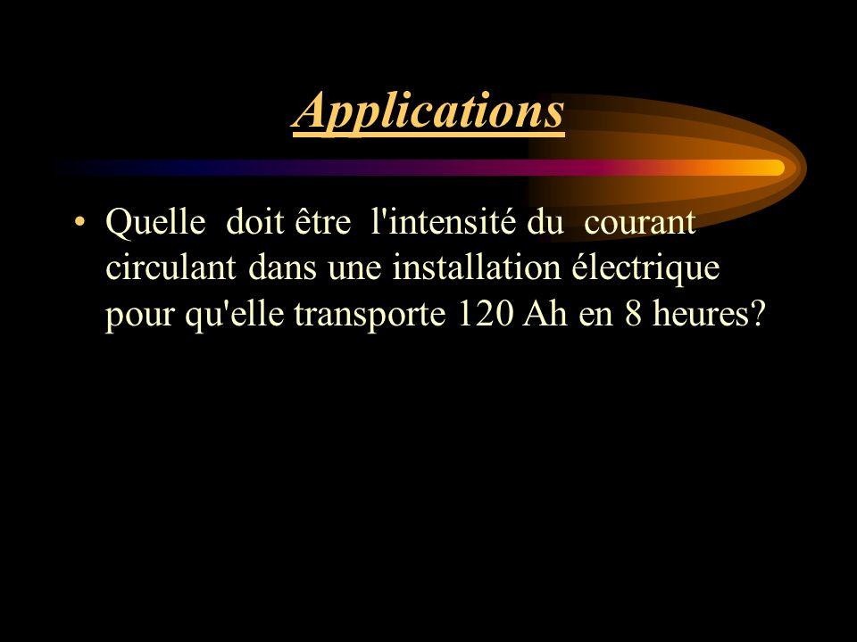 Applications Quelle doit être l intensité du courant circulant dans une installation électrique pour qu elle transporte 120 Ah en 8 heures?