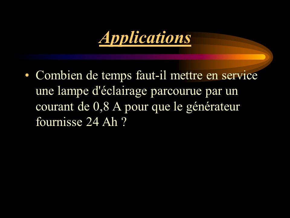 Applications Combien de temps faut-il mettre en service une lampe d éclairage parcourue par un courant de 0,8 A pour que le générateur fournisse 24 Ah ?