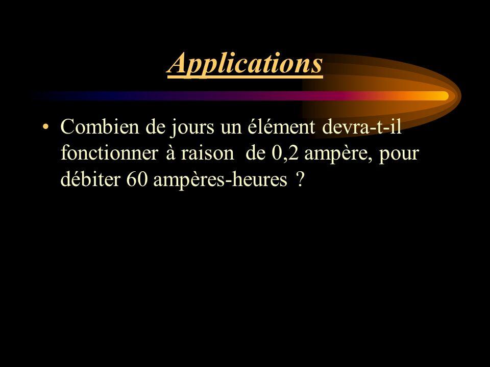 Applications Combien de jours un élément devra-t-il fonctionner à raison de 0,2 ampère, pour débiter 60 ampères-heures ?