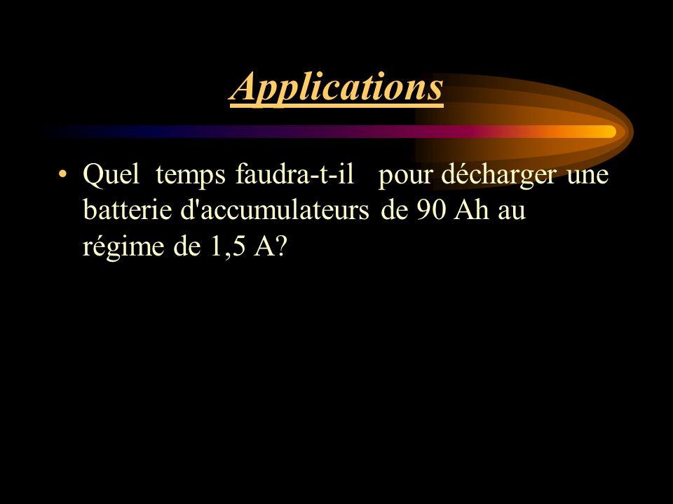 Applications Quel temps faudra-t-il pour décharger une batterie d accumulateurs de 90 Ah au régime de 1,5 A?