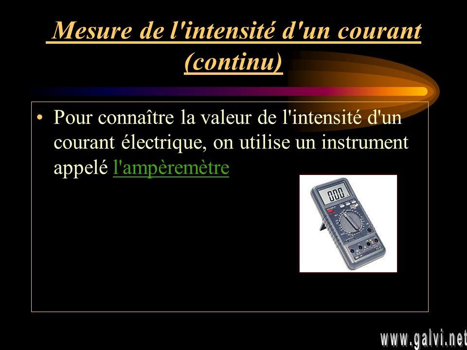 Mesure de l intensité d un courant (continu) Pour connaître la valeur de l intensité d un courant électrique, on utilise un instrument appelé l ampèremètre