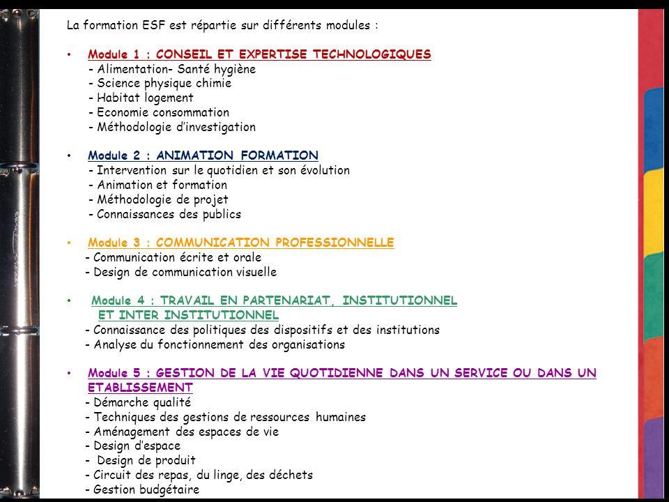 La formation ESF est répartie sur différents modules : Module 1 : CONSEIL ET EXPERTISE TECHNOLOGIQUES - Alimentation- Santé hygiène - Science physique chimie - Habitat logement - Economie consommation - Méthodologie dinvestigation Module 2 : ANIMATION FORMATION - Intervention sur le quotidien et son évolution - Animation et formation - Méthodologie de projet - Connaissances des publics Module 3 : COMMUNICATION PROFESSIONNELLE - Communication écrite et orale - Design de communication visuelle Module 4 : TRAVAIL EN PARTENARIAT, INSTITUTIONNEL ET INTER INSTITUTIONNEL - Connaissance des politiques des dispositifs et des institutions - Analyse du fonctionnement des organisations Module 5 : GESTION DE LA VIE QUOTIDIENNE DANS UN SERVICE OU DANS UN ETABLISSEMENT - Démarche qualité - Techniques des gestions de ressources humaines - Aménagement des espaces de vie - Design despace - Design de produit - Circuit des repas, du linge, des déchets - Gestion budgétaire