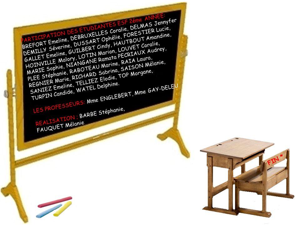 FIN * PARTICIPATION DES ETUDIANTES ESF 2éme ANNEE: BREFORT Emeline, DEBRUXELLES Coralie, DELMAS Jennyfer DEMILLY Séverine, DUSSART Ophélie, FORESTIER