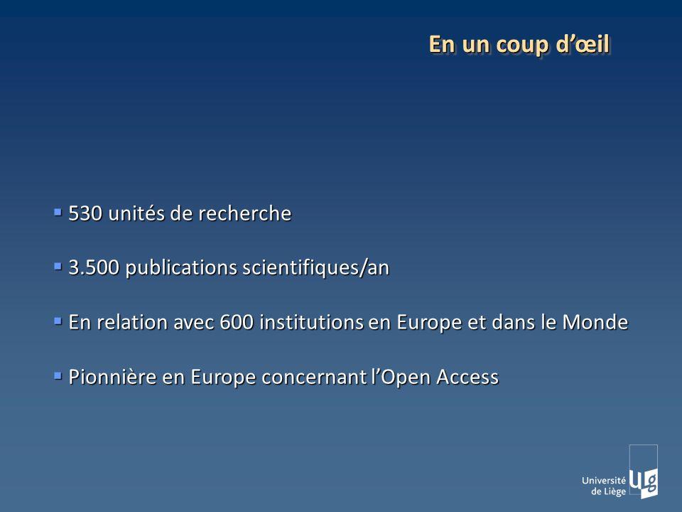 530 unités de recherche 530 unités de recherche 3.500 publications scientifiques/an 3.500 publications scientifiques/an En relation avec 600 institutions en Europe et dans le Monde En relation avec 600 institutions en Europe et dans le Monde Pionnière en Europe concernant lOpen Access Pionnière en Europe concernant lOpen Access En un coup dœil