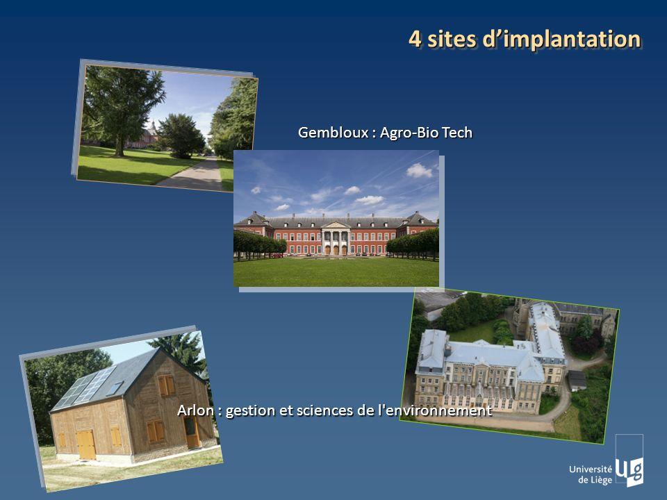 4 sites dimplantation Gembloux : Agro-Bio Tech Arlon : gestion et sciences de l environnement