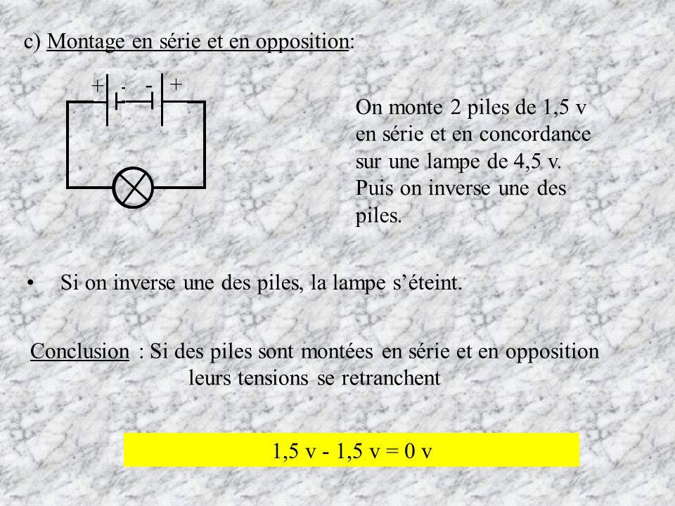 c) Montage en série et en opposition: On monte 2 piles de 1,5 v en série et en concordance sur une lampe de 4,5 v. Puis on inverse une des piles. Si o