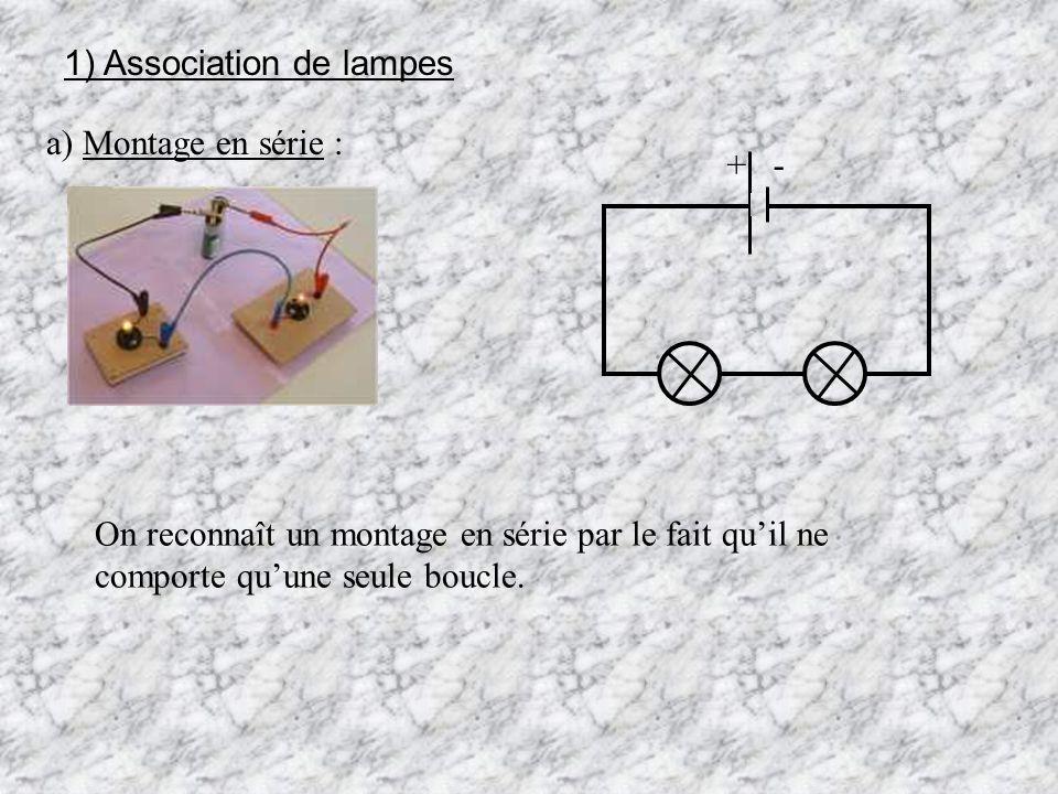 1) Association de lampes a) Montage en série : On reconnaît un montage en série par le fait quil ne comporte quune seule boucle. + -