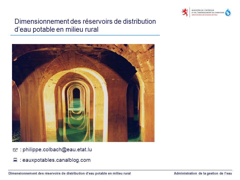 Dimensionnement des réservoirs de distribution deau potable en milieu rural Dimensionnement des réservoirs de distribution deau potable en milieu rura