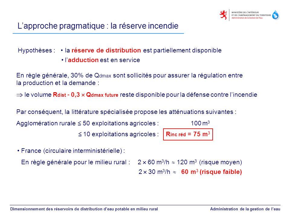 Dimensionnement des réservoirs de distribution deau potable en milieu rural Administration de la gestion de leau France (circulaire interministérielle