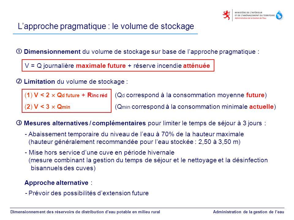 Lapproche pragmatique : le volume de stockage Dimensionnement des réservoirs de distribution deau potable en milieu rural Administration de la gestion