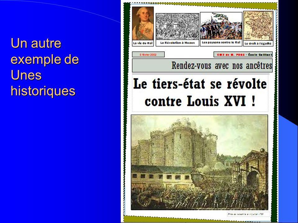 Un exemple de Unes historiques