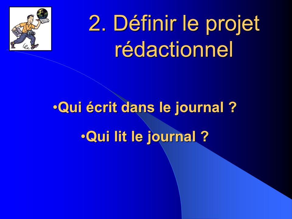 2.Définir le projet rédactionnel Qui écrit dans le journal ?Qui écrit dans le journal .