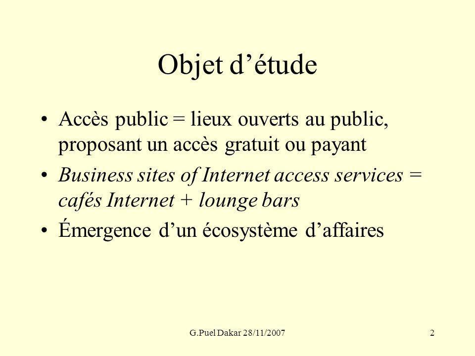 G.Puel Dakar 28/11/20072 Objet détude Accès public = lieux ouverts au public, proposant un accès gratuit ou payant Business sites of Internet access s