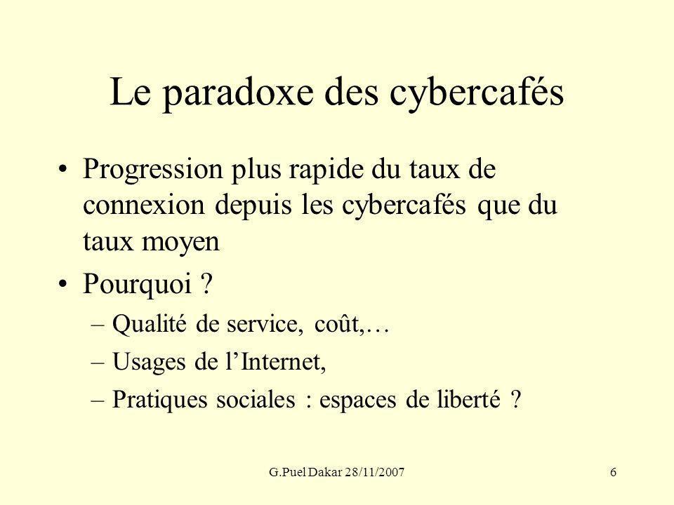 G.Puel Dakar 28/11/20076 Le paradoxe des cybercafés Progression plus rapide du taux de connexion depuis les cybercafés que du taux moyen Pourquoi ? –Q