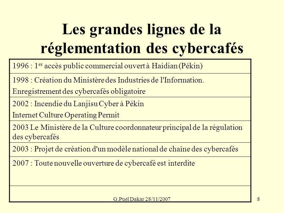 G.Puel Dakar 28/11/20078 Les grandes lignes de la réglementation des cybercafés 1996 : 1 er accès public commercial ouvert à Haidian (Pékin) 1998 : Cr