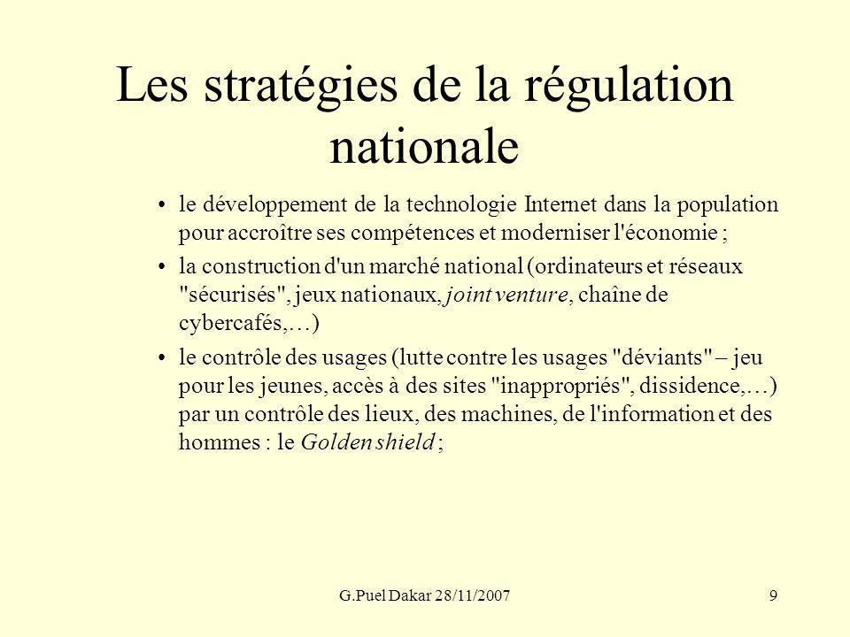 G.Puel Dakar 28/11/20079 Les stratégies de la régulation nationale le développement de la technologie Internet dans la population pour accroître ses c