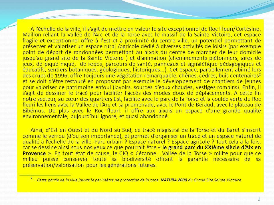 A léchelle de la ville, il sagit de mettre en valeur le site exceptionnel de Roc Fleuri/Cortésine.