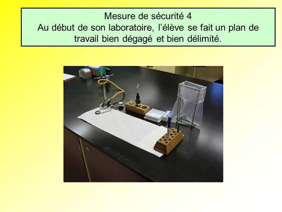 Mesure de sécurité 4 Au début de son laboratoire, lélève se fait un plan de travail bien dégagé et bien délimité.