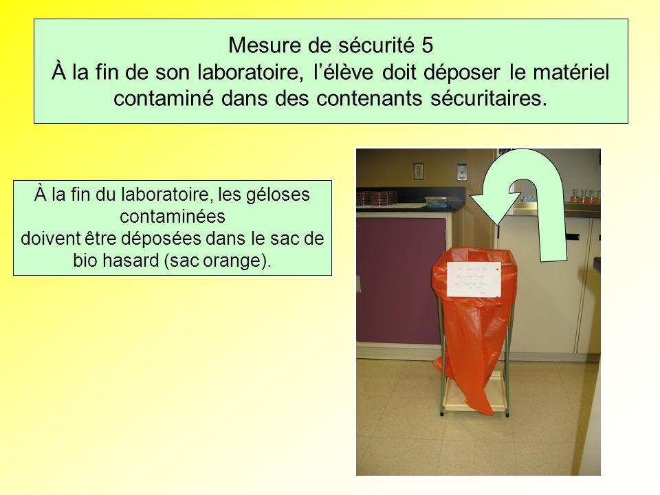 Mesure de sécurité 5 À la fin de son laboratoire, lélève doit déposer le matériel contaminé dans des contenants sécuritaires.