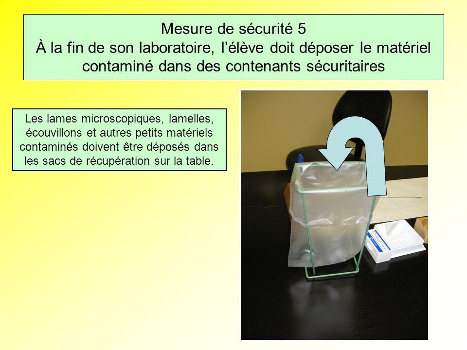 Mesure de sécurité 5 À la fin de son laboratoire, lélève doit déposer le matériel contaminé dans des contenants sécuritaires Les lames microscopiques, lamelles, écouvillons et autres petits matériels contaminés doivent être déposés dans les sacs de récupération sur la table.