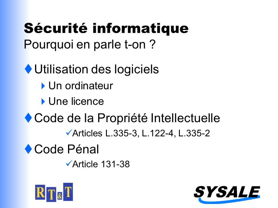 Sécurité informatique Pourquoi en parle t-on ? Utilisation des logiciels Un ordinateur Une licence Code de la Propriété Intellectuelle Articles L.335-