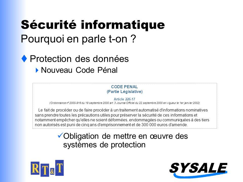 Sécurité informatique Pourquoi en parle t-on ? Protection des données Nouveau Code Pénal Obligation de mettre en œuvre des systèmes de protection CODE