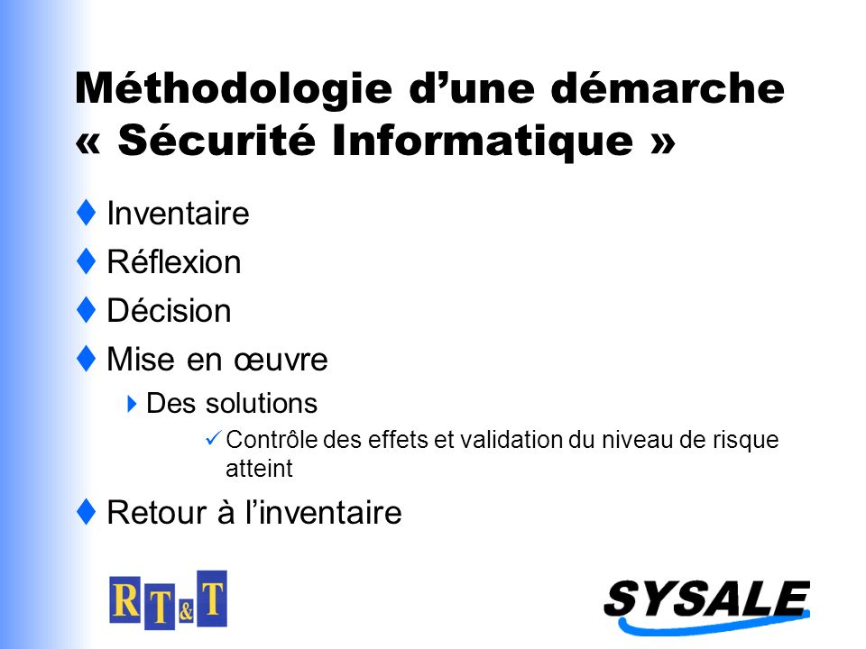 Méthodologie dune démarche « Sécurité Informatique » Inventaire Réflexion Décision Mise en œuvre Des solutions Contrôle des effets et validation du niveau de risque atteint Retour à linventaire