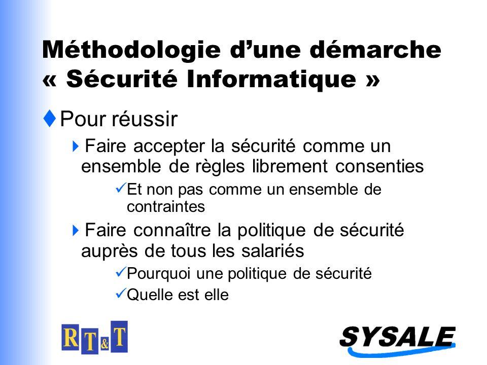 Méthodologie dune démarche « Sécurité Informatique » Pour réussir Faire accepter la sécurité comme un ensemble de règles librement consenties Et non pas comme un ensemble de contraintes Faire connaître la politique de sécurité auprès de tous les salariés Pourquoi une politique de sécurité Quelle est elle