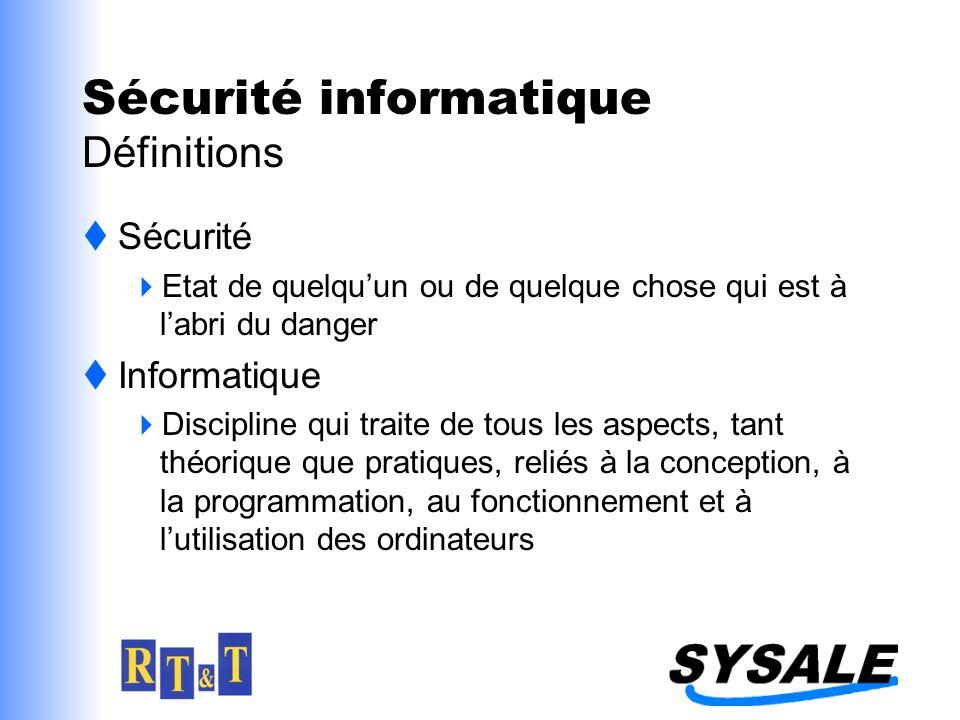 Sécurité informatique Définitions Sécurité Etat de quelquun ou de quelque chose qui est à labri du danger Informatique Discipline qui traite de tous l
