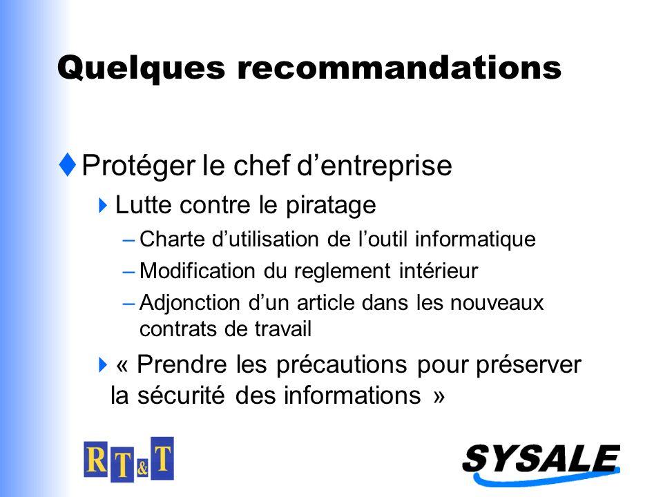 Quelques recommandations Protéger le chef dentreprise Lutte contre le piratage –Charte dutilisation de loutil informatique –Modification du reglement