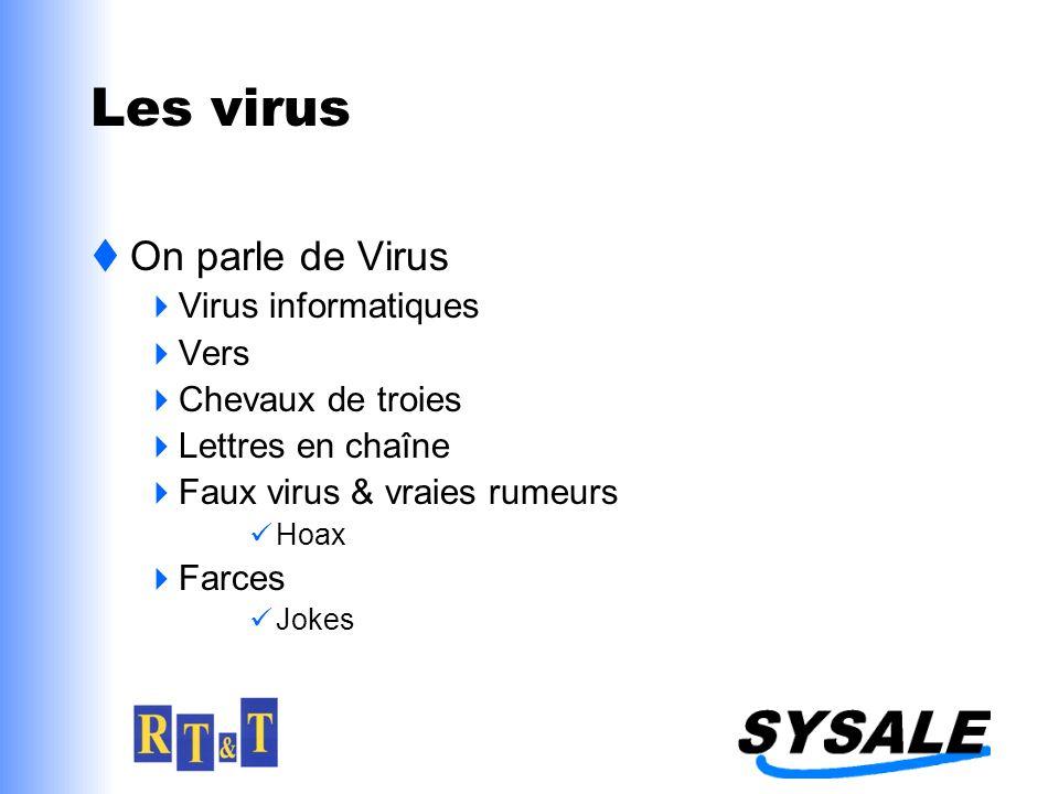 Les virus On parle de Virus Virus informatiques Vers Chevaux de troies Lettres en chaîne Faux virus & vraies rumeurs Hoax Farces Jokes
