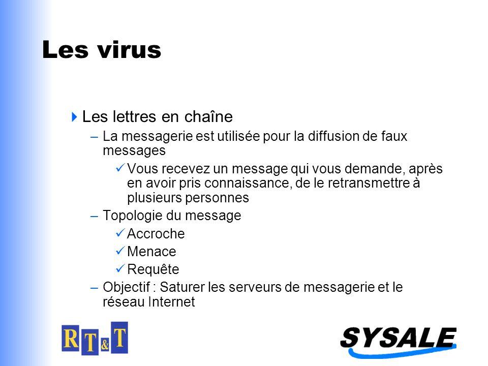 Les virus Les lettres en chaîne –La messagerie est utilisée pour la diffusion de faux messages Vous recevez un message qui vous demande, après en avoi