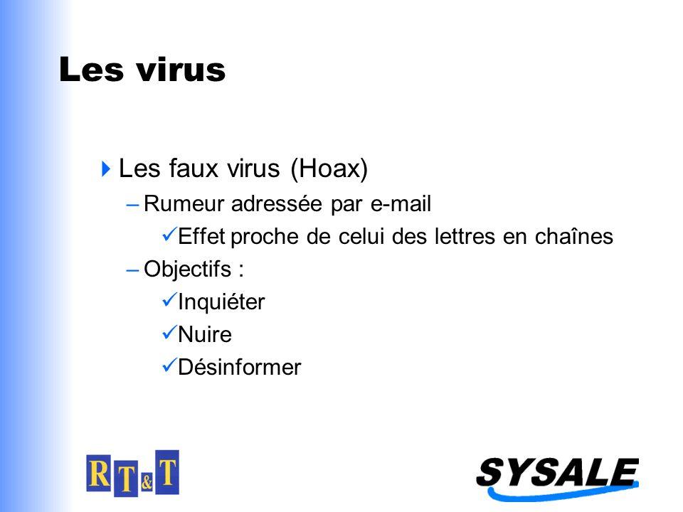 Les virus Les faux virus (Hoax) –Rumeur adressée par e-mail Effet proche de celui des lettres en chaînes –Objectifs : Inquiéter Nuire Désinformer