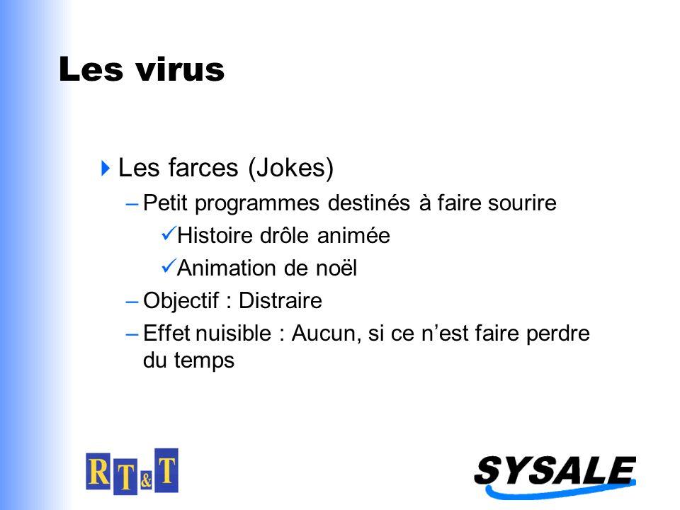 Les virus Les farces (Jokes) –Petit programmes destinés à faire sourire Histoire drôle animée Animation de noël –Objectif : Distraire –Effet nuisible : Aucun, si ce nest faire perdre du temps