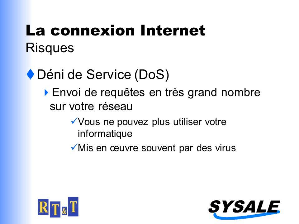 Déni de Service (DoS) Envoi de requêtes en très grand nombre sur votre réseau Vous ne pouvez plus utiliser votre informatique Mis en œuvre souvent par des virus La connexion Internet Risques