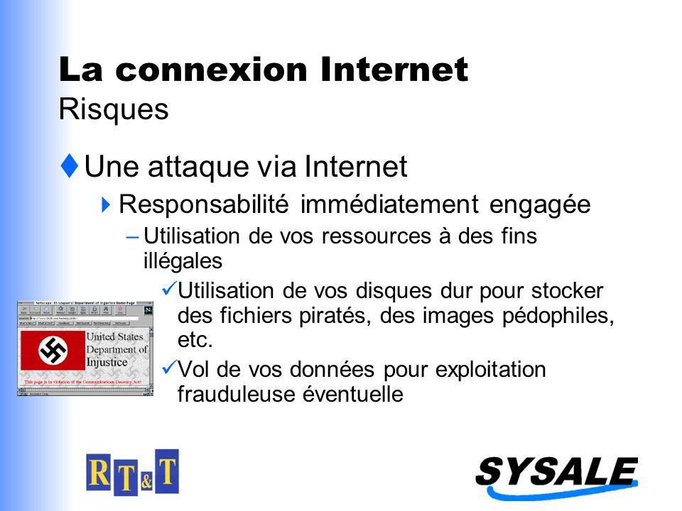 Une attaque via Internet Responsabilité immédiatement engagée –Utilisation de vos ressources à des fins illégales Utilisation de vos disques dur pour stocker des fichiers piratés, des images pédophiles, etc.