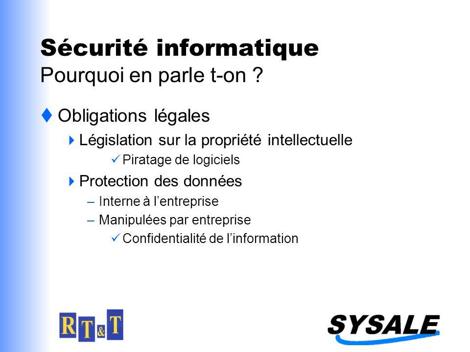 Sécurité informatique Pourquoi en parle t-on ? Obligations légales Législation sur la propriété intellectuelle Piratage de logiciels Protection des do