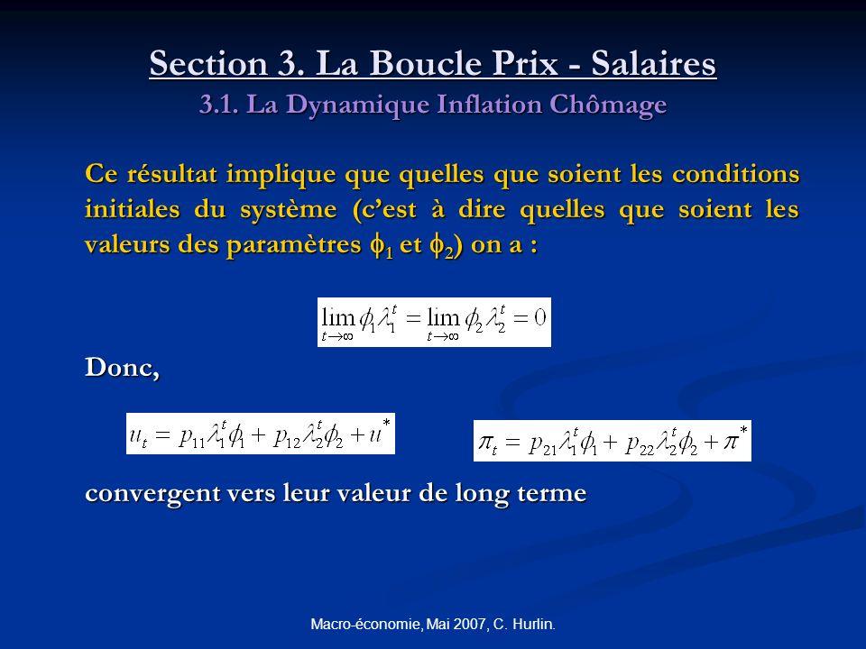 Macro-économie, Mai 2007, C. Hurlin. Section 3. La Boucle Prix - Salaires 3.1. La Dynamique Inflation Chômage Ce résultat implique que quelles que soi