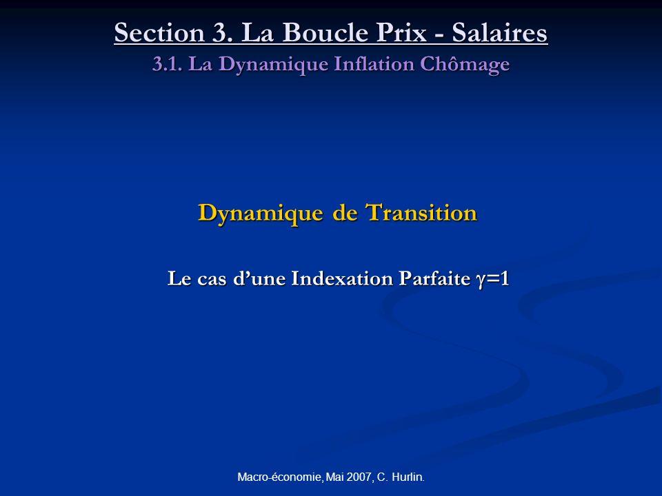 Macro-économie, Mai 2007, C. Hurlin. Section 3. La Boucle Prix - Salaires 3.1. La Dynamique Inflation Chômage Dynamique de Transition Le cas dune Inde
