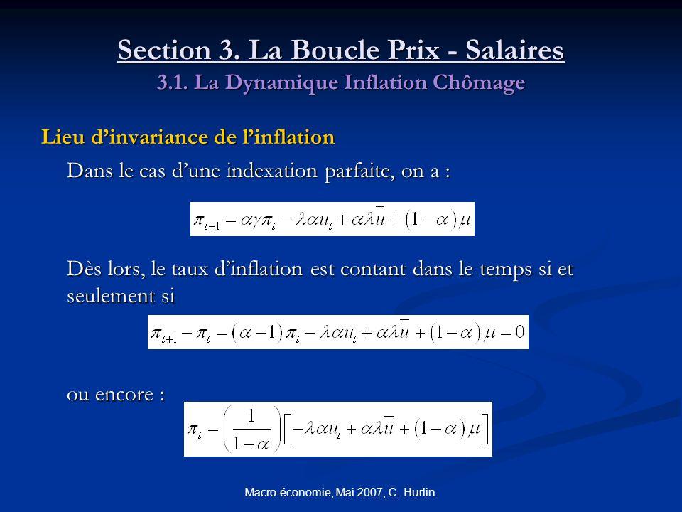 Macro-économie, Mai 2007, C. Hurlin. Section 3. La Boucle Prix - Salaires 3.1. La Dynamique Inflation Chômage Lieu dinvariance de linflation Dans le c