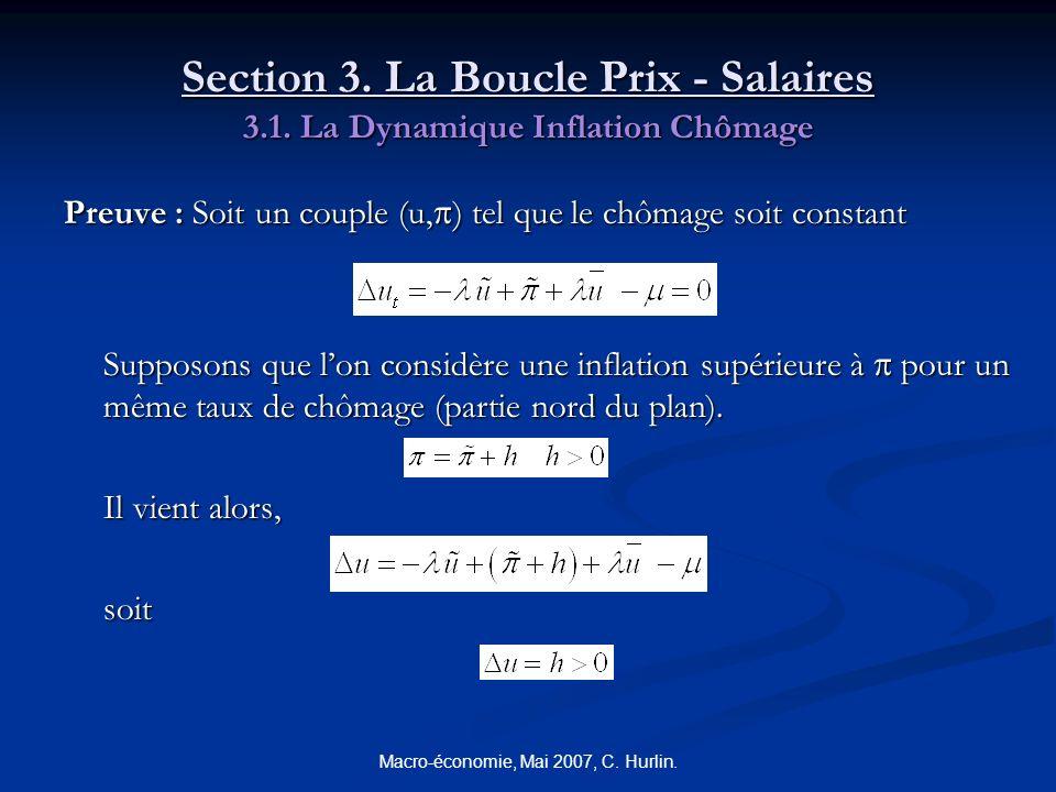 Macro-économie, Mai 2007, C. Hurlin. Section 3. La Boucle Prix - Salaires 3.1. La Dynamique Inflation Chômage Preuve : Soit un couple (u, ) tel que le
