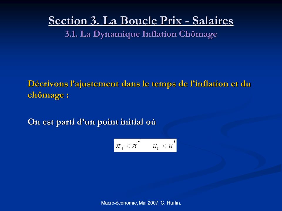Macro-économie, Mai 2007, C. Hurlin. Section 3. La Boucle Prix - Salaires 3.1. La Dynamique Inflation Chômage Décrivons lajustement dans le temps de l