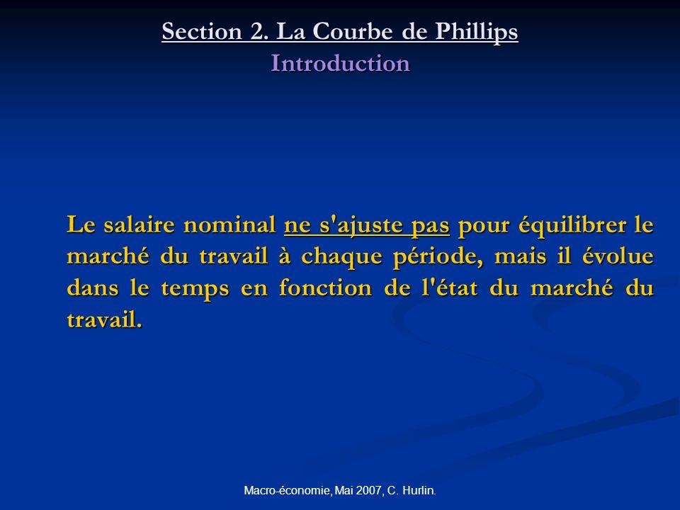 Macro-économie, Mai 2007, C. Hurlin. Section 2. La Courbe de Phillips Introduction Le salaire nominal ne s'ajuste pas pour équilibrer le marché du tra